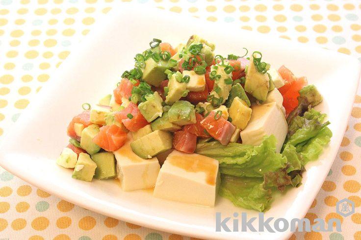 Шелковая тофу  1-темэ  авокадо  ½  Сырой лосось (лосось для сасими)  80g  Лимонный сок  1 ч.л.  Сливочный сыр  40g  Солнечный салат  два  Зеленый лук  Правильное количество  (А)  Kikkoman свежий вкус богатых с низким содержанием соли соевого соуса в любое время  1 столовую ложку 1/2  Нери Wasabi  1/2 чайной ложки