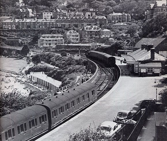 St Ives railway station: then and now. St Ives, Cornwall England UK