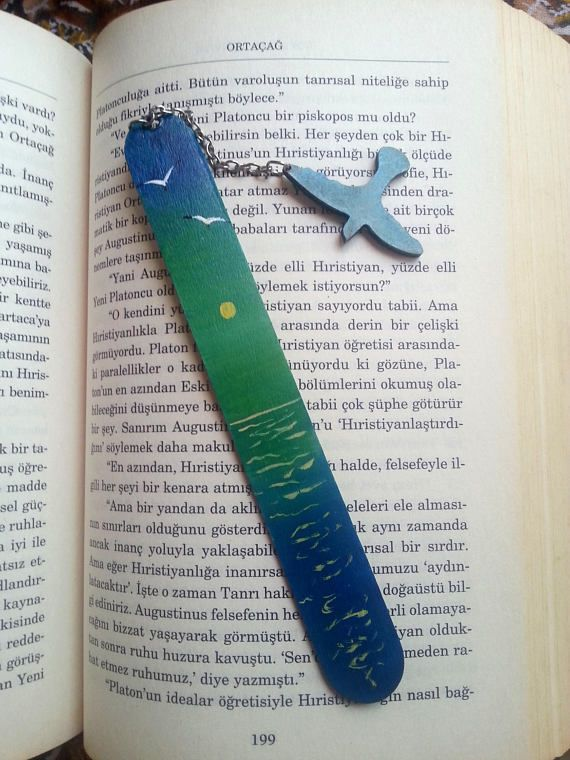 Sea painting bookmarks Hand painted bookmark Wooden