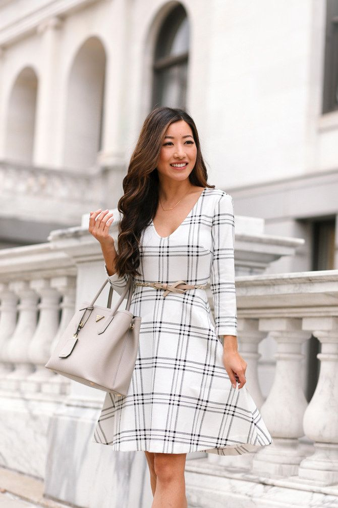 fit & flare black and white plaid dress // add a blazer or cropped cardigan for professional wear