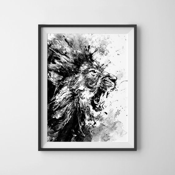 Lion Acrylic Painting Print Lion Roar Lion Art by ArtByJoonas