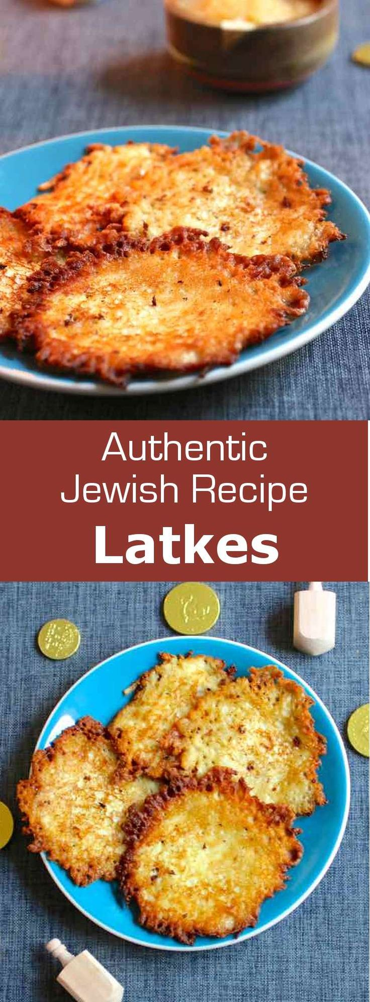 Polish traditional latkes are potato hash browns served with applesauce and sour cream during the Jewish holiday of Hanukkah. #hanukkah #poland #vegetarian #196flavors