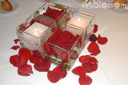 cute idea, you could put these on the tables with flowers in 2 like this and then candy in the other 2 or electric candles.
