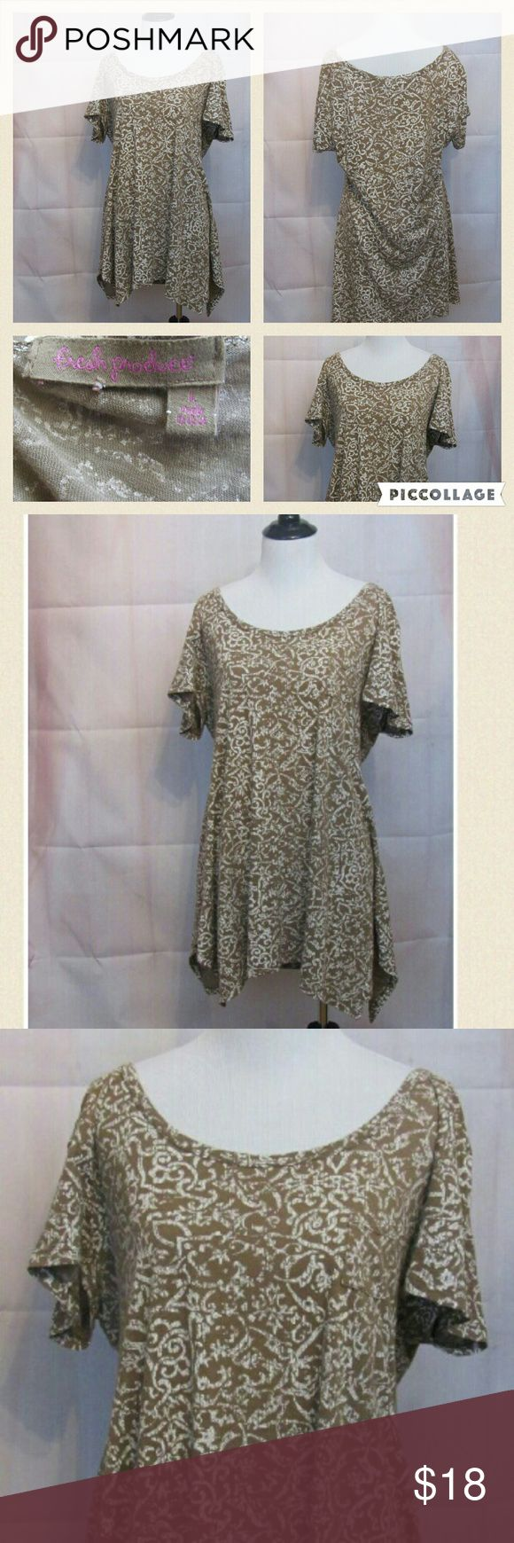 """Fresh Produce Tan Beige Short Sleeve Top L Great top. Scoop Neck. Short sleeve.   All clothes are in excellent used condition. No stains or holes.  Content: 100% cotton  Bust: 42"""" Length: 29""""  Posh11 Fresh Produce Tops Tees - Short Sleeve"""