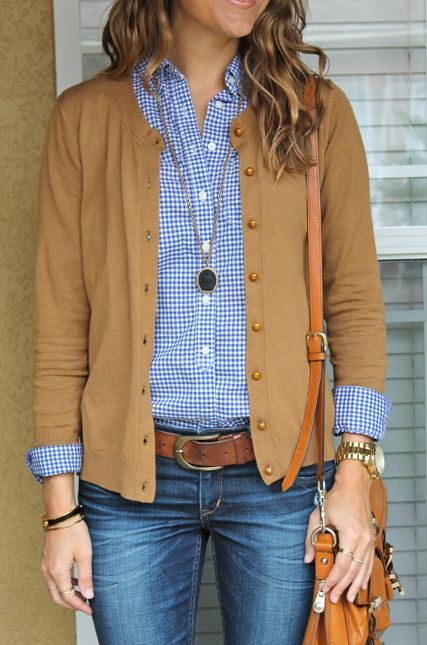 Classic Blue gingham shirt and tan cardigan.