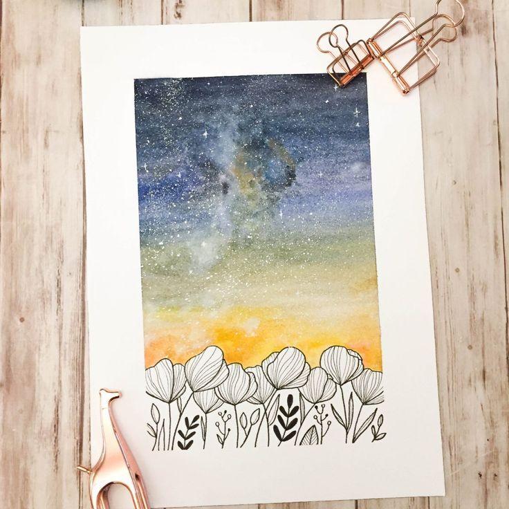 Aquarell Himmel und Blumenzeichnungen – Les …  #Gouache-Malerei  Aquarellhimme…