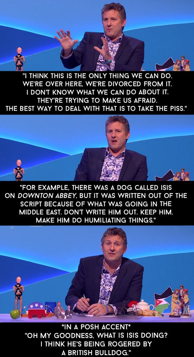 "When he passionately argued that we should continue to take the piss out of ISIS. | 13 Adam Hills Rants By On ""The Last Leg"" That Nailed It"