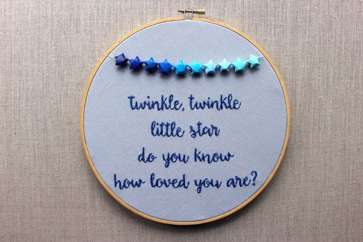 Twinkle Twinkle Little Star Hand Embroidered Hoop Art. 9 inch Embroidery Origami. Grey Blue Nursery Decor. Space Stars Baby Art. Baby Shower by erinmcmoms on Etsy https://www.etsy.com/listing/278271168/twinkle-twinkle-little-star-hand