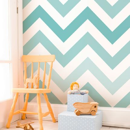 Chevron Teal Peel & Stick Fabric Wallpaper Repositionable - Simple Shapes Wall Decals, Furniture, and Accessories