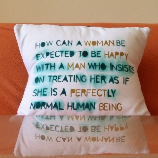 Oscar Wilde quote stencil cushion