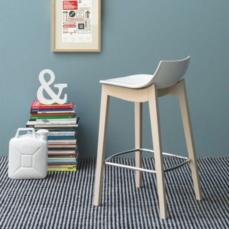 Led W Barstool by Connubia Calligaris in Glossy White & Bleached Beech - Nuastyle