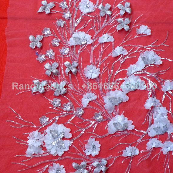 Silver/White/purple/Pink Beads sequins Embroidery by Randyfabrics 20$