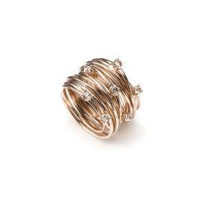Mattioli ring rosegoud 'Tibet' met bruin briljant - bij Annexs juwelier goudsmid Utrecht