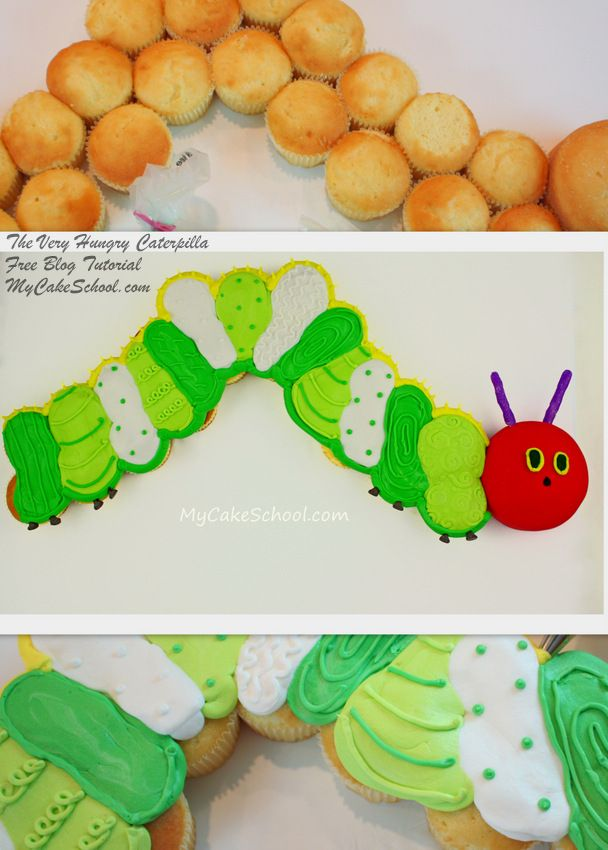 "Learn to make an ADORABLE hungry caterpillar ""cupcake cake"" on this free MyCakeSchool.com tutorial!"