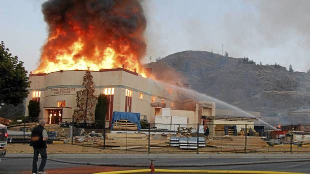 500 students may be bused to nearby Osoyoos in aftermath; school's south and east wings destroyed, as well as historic auditorium