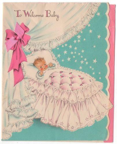 Vintage Greeting Card New Baby Bassinet Used (B110)