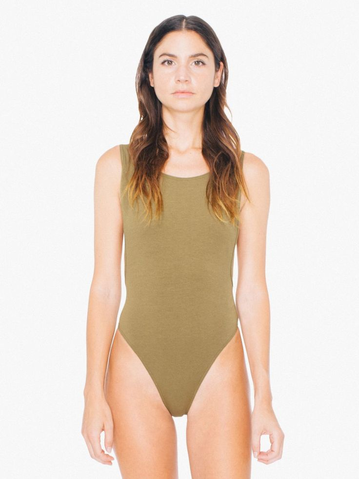 A cotton spandex bodysuit with high neckline, thong bottom and deep back with skinny straps.