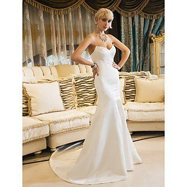 cariño tribunal tren vestido de novia de raso trompeta / sirena (631188) – USD $ 127.99