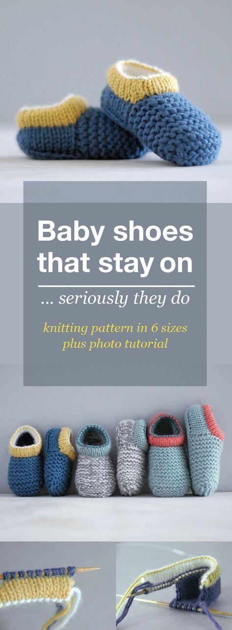 Strickmuster des Babyschuhs. Dies sind gestrickte Schuh Stil Baby Booties, die bleiben