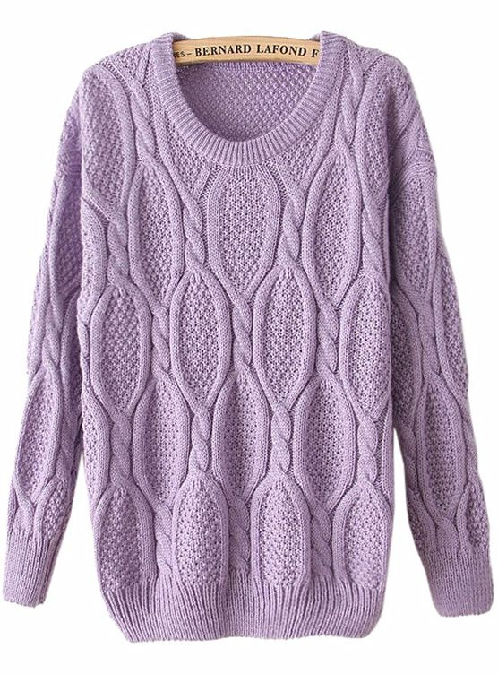 Shop Purple Long Sleeve Mohair Cable Knit Sweater online. Sheinside offers Purple Long Sleeve Mohair Cable Knit Sweater & more to fit your fashionable needs. Free Shipping Worldwide!