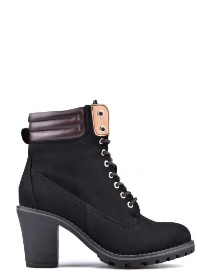 Dámske členkové topánky na podpätku  TENDENZ - čierna