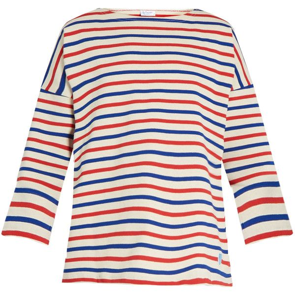 Orcival Breton-striped cotton top (£62) ❤ liked on Polyvore featuring tops, cream top, breton stripe top, slouchy tops, cream long sleeve top and white striped top