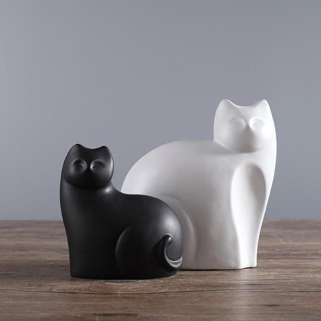 Mother And Son Ceramic Cats Statue - Sold per 2pcs/set  cat statue | cat statue diy | cat statues for garden | cat statue decor | cat statue egyptian | Cat Statues | Cat | Statues & Sculptures | Cat Statues - Bronze, Stone, Clay |