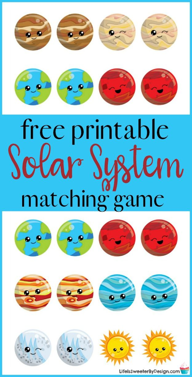 This free printable solar system matching game is colorful