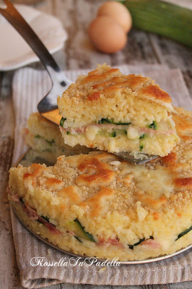 Torta di riso con zucchine, prosciutto e fontina