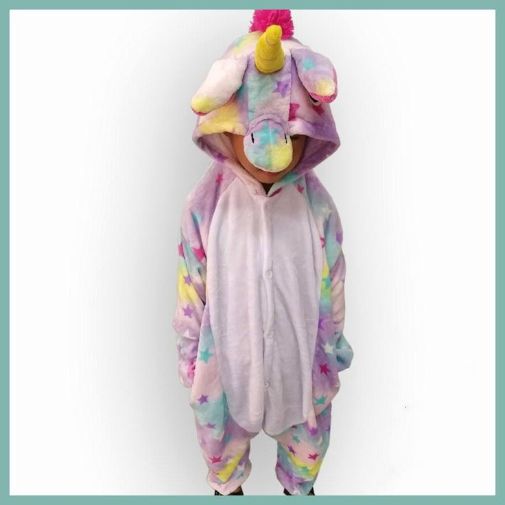 Girls Cute Colored Stars Unicorn Pajama Winter Flannel Onesie Cartoon Animal Unicorn Cosplay Costume Children Pyjamas Overalls