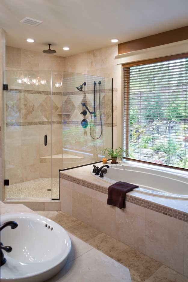 Corner shower and garden tub.  Craftsman House Plan # 441287