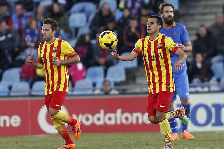 El delantero del Barcelona Pedro Rodríguez tras conseguir el primer gol de su equipo ante el Getafe