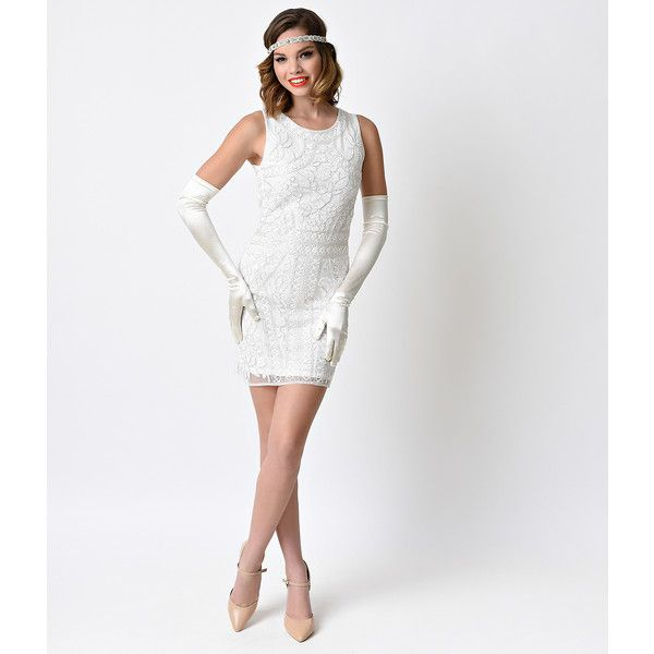 Vintage 1920s White Deco Beaded Fitted Short Flapper Dress ($78) ❤ liked on Polyvore featuring dresses, white, vintage white dress, white sequin dress, tight fitted dresses, white sequin cocktail dress and vintage beaded cocktail dress