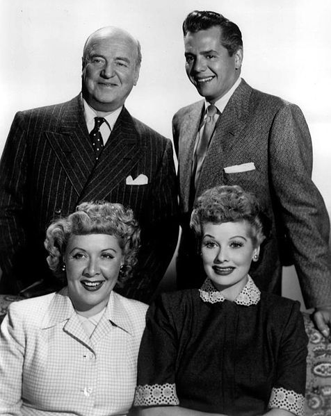 Publicity photo of the I Love Lucy cast: William Frawley, Desi Arnaz , Vivian Vance , Lucille Ball.