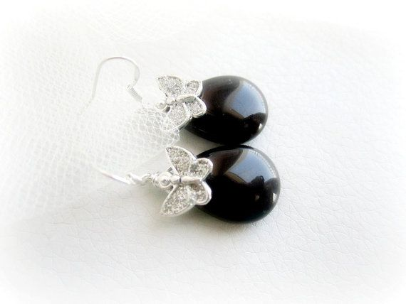Genuine black onyx earrings & butterfly by MalinaCapricciosa