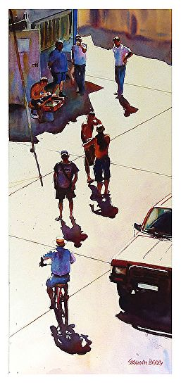 Doing the rounds by Graham Berry was awarded Outstanding Watercolor in the April 2014 BoldBrush Painting Competition.
