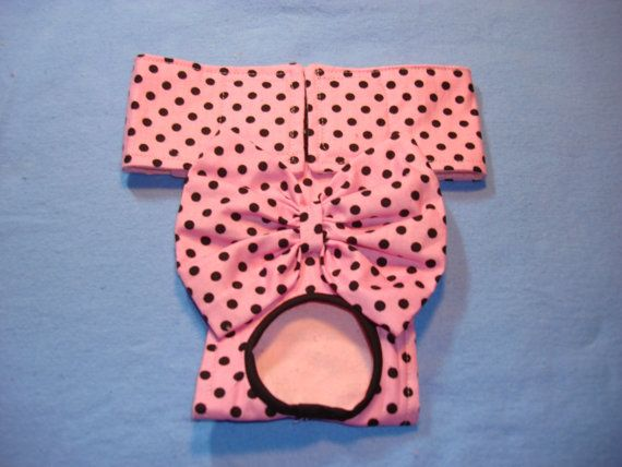 Female Dog Diaper - Panties - Pink with Black Polka Dots