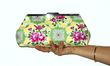 Yellow and Green Floral Straight Edge  Purse 200mm Frame