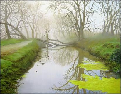 """White Slough  24"""" x 30"""" oil on canvas  This is out by hiway 5. There are ponds approx. 1 mile apart with sloughs separating them. We walk our dog out there when duck hunting is over. My husband took this picture after a rainy storm had fallen a tree. I had to paint it and what a challenge."""