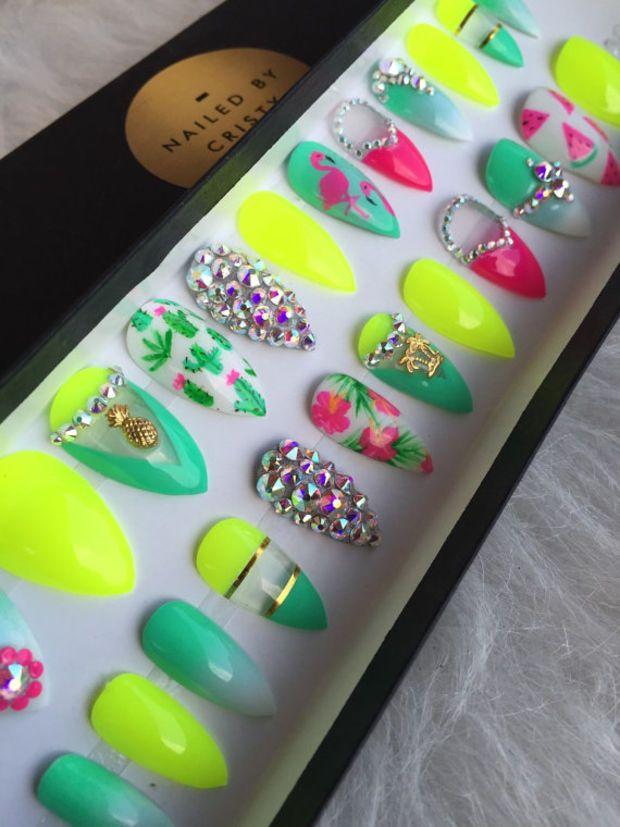 Tropical Neon Summer Press On Nails | Any Shape | Handpainted Nail Art Design | Fake False Glue On Nails