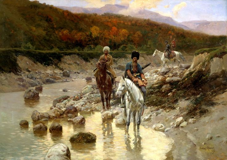 Franz Roubaud - Cossacks in the mountain river. 200 Russian painters • download painting • Gallerix.ru