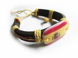 a pulsera surfera ajustable de cuero piel colores bandera espana espanola y escudo