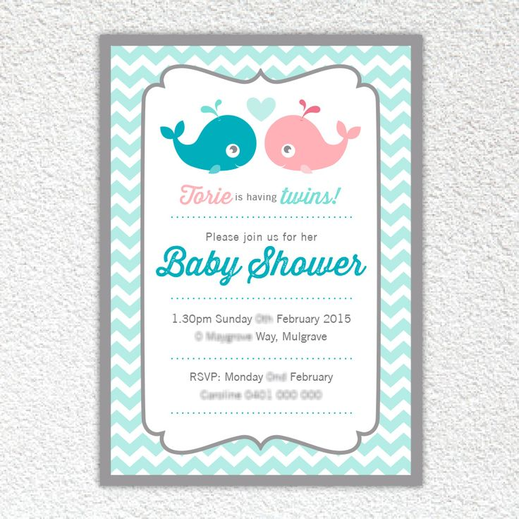Lil Whale Twins - Baby shower invite