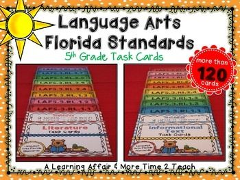 This product includes more than 120 questions correlating to the 5th grade Language Arts Florida Standards (LAFS) for Reading Literature (R.L.) and Reading Informational Text (R.I.). The task cards include 7-11 questions for each of the R.L. and R.I. 5th grade standards.These task cards are versatile and can be used in a number of ways by both teachers and students.