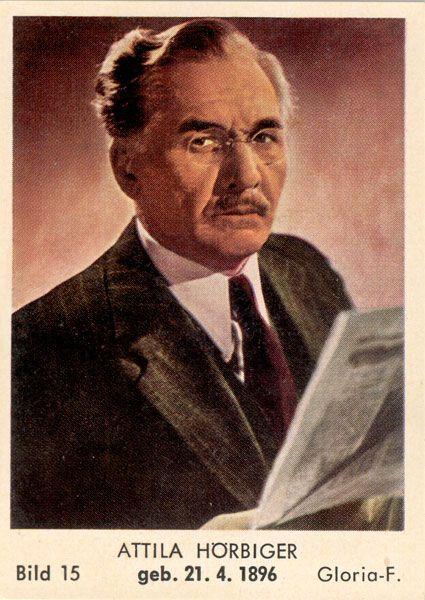 Attila Hörbiger(*21. April1896inBudapest,Österreich-Ungarn; †27. April1987inWien,Österreich) war ein österreichischer Schauspieler. Er spielte von 1935 bis 1937 und von 1947 bis 1951 denJedermannbei denSalzburger Festspielenund war – lautMax Reinhardt– der beste Darsteller dieser Rolle. Attila Hörbiger war der Sohn vonHanns Hörbiger, der Bruder vonPaul Hörbiger, ab 1935 der Ehemann vonPaula Wesselyund der Vater vonElisabeth Orth,Christiane HörbigerundMaresa Hörbiger…