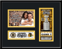 2013 Stanley Cup Final 4x6 Photo & Ticket Frame - Boston Bruins - If you were fortunate to attend the 2013 Stanley Cup Finals, you witnessed hockey history and you deserve a display as special as the event to prove it. And because you most likely have an E-Ticket here's your chance to own an official 2013 Stanley Cup Final Commemorative Ticket.  FREE PERSONALIZATION