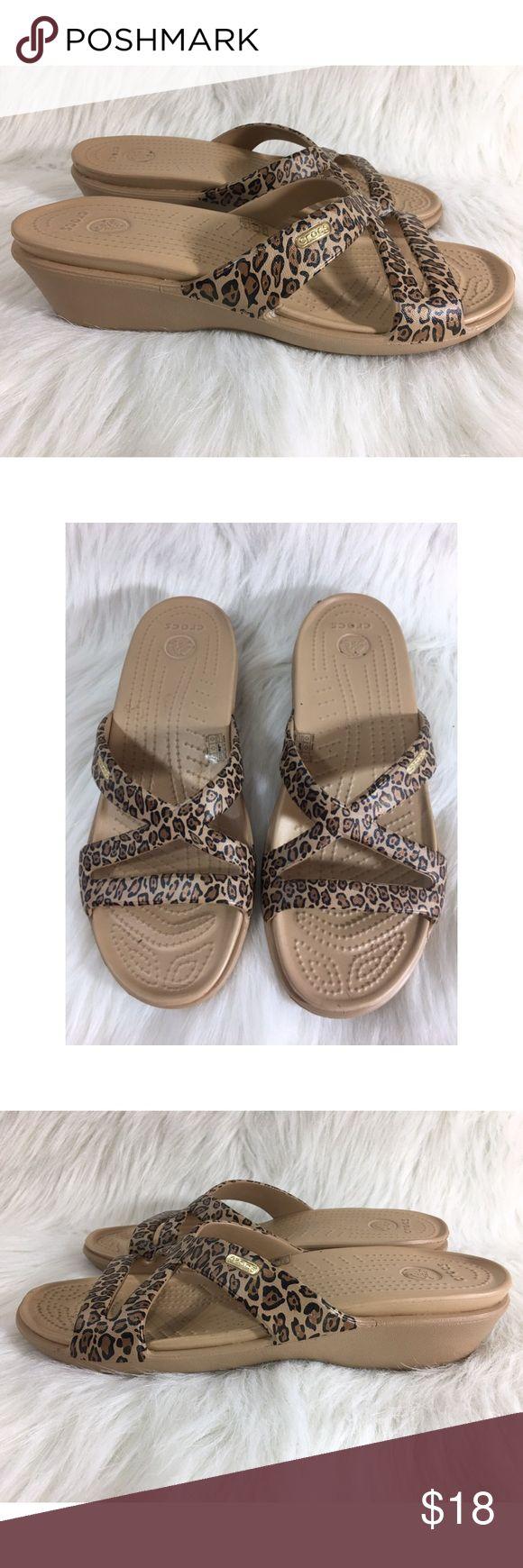 "Crocs Leopard Sandals Size 10 Heel height is 2"" Great condition  011717GW0314 3/2 CROCS Shoes Sandals"