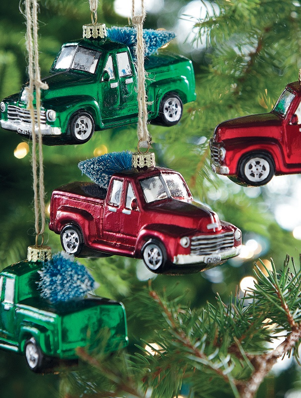 Pickup truck ornaments for the car lover in your life. #holiday2012 HomeDecorators.com