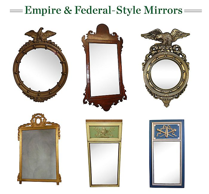 Federal Style Mirrors, from Sheraton's convex mirrors to classic French-style trumeau mirrors.