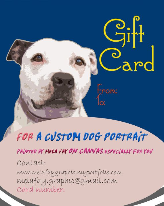 Custom dog Portrait GIFT CARD Pop art by MelaCustomPortraits